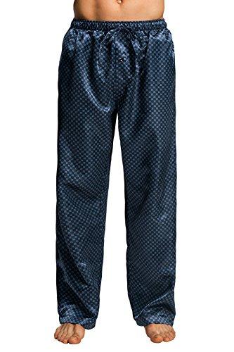 CYZ Men's Satin Pajama Pants-Blue Square-M