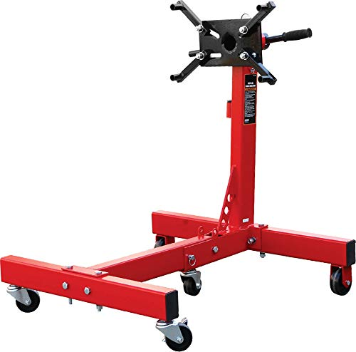 BIG RED AT37912 Torin Steel Rotating Engine Stand with 360 Degree Rotating Head and Folding Frame: 3/4 Ton (1,500 lb) Capacity, Red