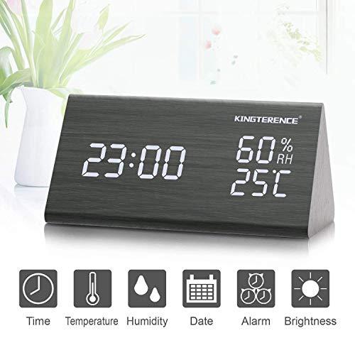 Digital Wecker mit Hölzerner Elektronischer LED-Zeitanzeige, Doppelte Temperatur- und Feuchtigkeitserkennung, Ideal für Schlafzimmer, Nacht Kinder