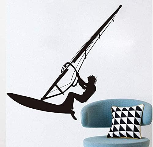 SSCLOCK Surf Windsurf calcomanía de Pared Vinilo Negro Autoadhesivo Deportes de mar Windsurf Surf Lover Boy Teen Room decoración de la Pared Pegatina 59 * 59 cm