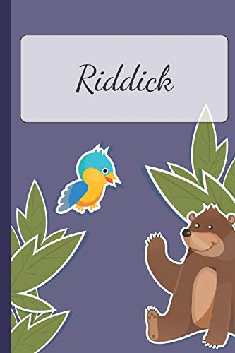 Riddick: Personalized Notebooks • Sketchbook for Kids with Name Tag • Drawing for Beginners with 110 Dot Grid Pages • 6x9 / A5 size Name Notebook • ... Planner and Journal for kids [Idioma Inglés]