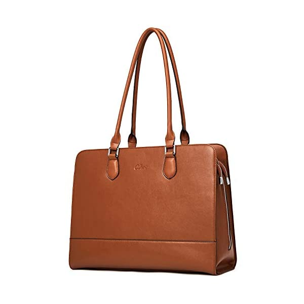 CLUCI Genuine Leather Briefcase for Women 15.6 Inch Laptop Vintage Large Ladies Business Work Shoulder Bags 1