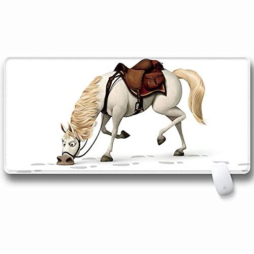 DYYTMTA - XXL Alfombrilla para ratón Caballo Blanco Animal de Dibujos Animados Speed Gaming Mousepad 700x300mm Mouse Pad para Ordenador - para Gamers, Oficina, PC, Portátil, Ordenador