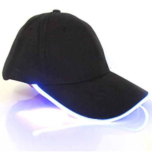 LYCOS3 Gorra de béisbol luz LED, Gorra de béisbol con luz LED, para Deportes, Viajes, Fiestas, Club, Gorra con ala de luz LED, Azul, Tamaño Libre