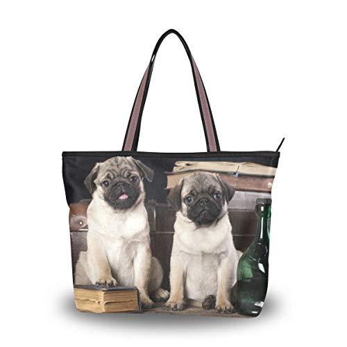 Eslifey Damen-Handtasche mit Mops-Motiv Gr. 38, multi