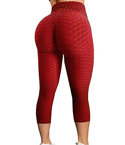 FITTOO Women's High Waist Yoga Pants Tummy Control Scrunched Booty Capri Leggings Workout Running Butt Lift Textured Tights Red X-Large