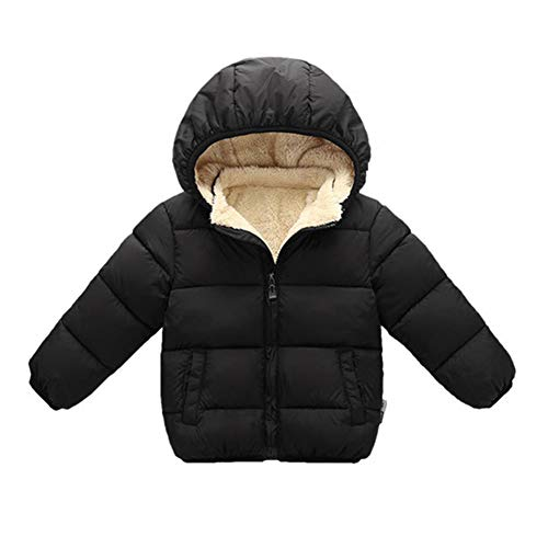 Toddler Baby Hooded Down Jacket Boys Girls Kids Thicken Warm Winter Coat Outerwear 18-24M Black