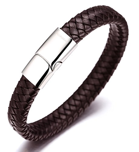 Halukakah  Solo  Men's Genuine Leather Bracelet Classic Style Titanium Clasp with Magnets 8.46'(21.5cm) with Free Giftbox(Brown)