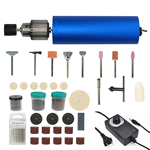 WIOR Rotary Tool with 105Pcs Accessories, Handheld Drill with 10Pcs Drill Bits (0.8-3mm), DIY Mini Electric Hand Drill for Jewelry Making Craftwork Cutting Drilling Engraving (Blue)