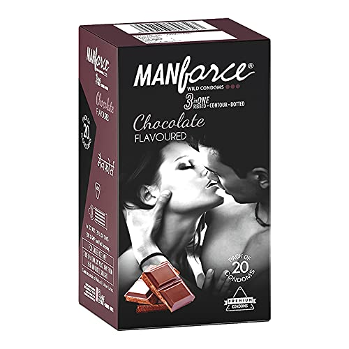 Manforce 3 in 1 (Ribbed, Contour, Dotted) Wild Chocolate Flavoured- 20 Pieces