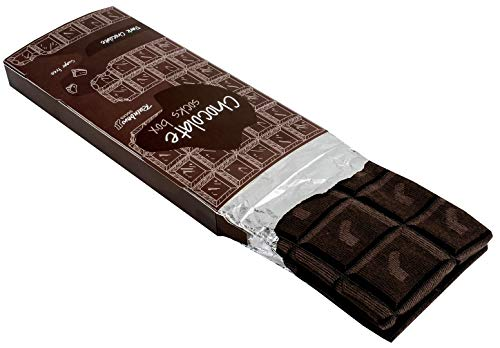 Rainbow Socks - Hombre Mujer Calcetines Barra de Chocolate Graciosos - 1 Par - Chocolate Negro - Talla 41-46