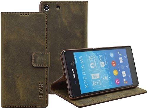 Sony Xperia M5   Suncase Book-Style (Slim-Fit) Ledertasche Leder Tasche Handytasche Schutzhülle Hülle Hülle (mit Standfunktion & Kartenfach) antik braun