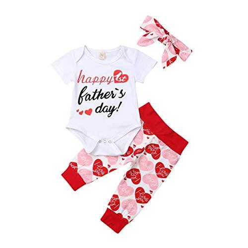 BULINGNA Conjunto de 3 Piezas para recién Nacido, Ropa de Verano con diseño de corazón, Pantalones y Diadema, Father's Day #1, 6-9Meses