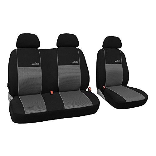 Saferide | Universele voorstoelen bus 1 + 2 stoelhoezen Transporter stoelbekleding beschermhoezen auto bekleding stoelbekleding stoelhoezen camper voorkant Gallante VIP grijs