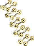 5 Paar Edelstahl Ohrstecker Runde Kugel Ohrstecker Zirkonia Barbell Ohrring Set Helix Piercing für Tragus Knorpel Ohr, 5 Arten (Gold)