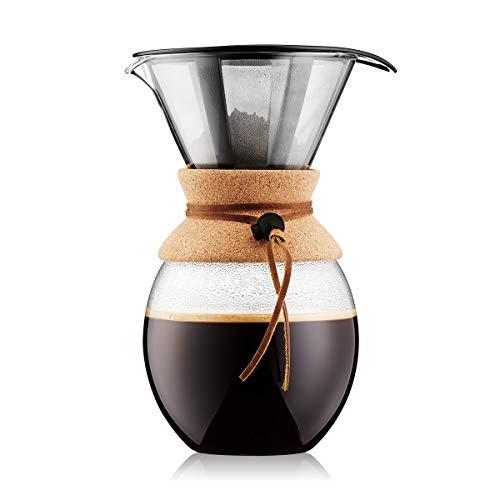 Bodum Pour Over Kaffeebereiter mit permanentfilter, Glas, Beige, 14.9 x 17.6 x 25.6 cm