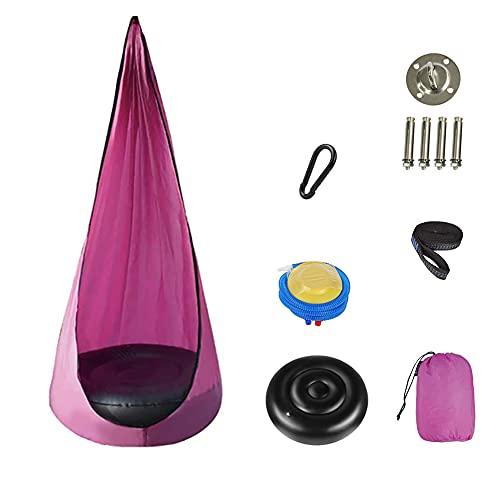 Ysislybin Hamaca colgante para niños, hamaca rosa con placa fija y cojín hinchable, cueva colgante para habitación infantil o exteriores , 140 x 70 cm