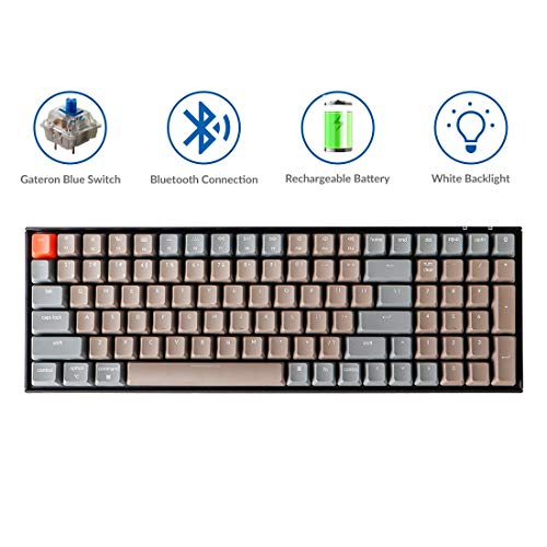 Keychron K4 Mechanical Keyboard, Wireless Mechanical Keyboard with White LED Backlight/Gateron Blue Switch/Wired USB C / 96% Layout, Bluetooth Gaming Keyboard for Mac Windows PC Gamer