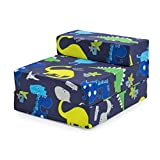 Ready Steady Bed Children Kids Fold Out Sleepover Z Bed Sofa   Toddler Single Folding Chair   Great for Playroom Bedroom Living Room   Lightweight & Comfy (Dino Dark)