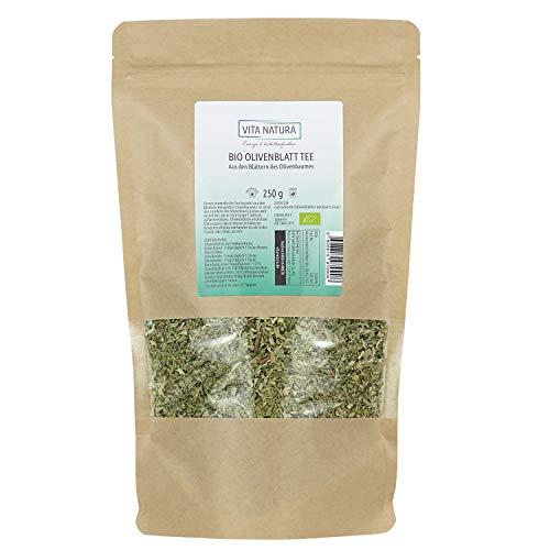 VITA NATURA Olivenblätter-Tee BIO - Kräutertee - Olivenblattextrakt - Biotee lose - aus Spanien - 100 {e57fab52c0f97c812c0fea8e8f6b6f7566d1583a2fd5ee4f6413b541e9c478aa} vegan - in 250 g Packung erhältlich