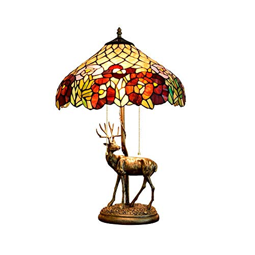 Diseño Personalizado 16 pulgadas de América habitaciones estilo retro Elk base creativa del vitral de Tiffany de estar Restaurante Bar dormitorio estilo Tiffany cubierta de noche lámpara de mesa Crocs