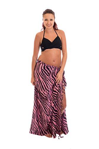 Ciffre Edel Sarong Pareo Wickelrock Strandtuch Handtuch Handarbeit Pink Schwarz Zebra