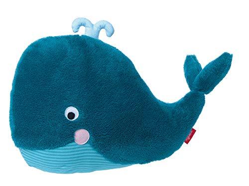 Sigikid 39072 - Cuscino di Peluche a Forma di Balena, Collezione Urban Baby Edition, Colore: Blu