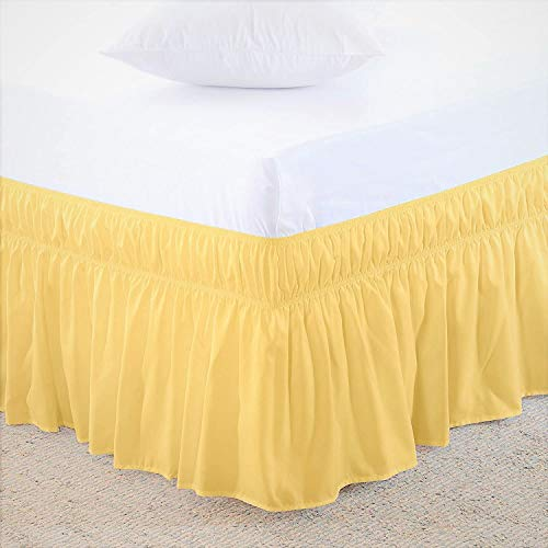 Threads Collection 12' Drop 600 Thread Count - Wrinkle & Fade Resistant - Egyptian Quality Three Fabric Sides Easy On/Easy Off Wrap Around Elastic Bed Skirt King - Yellow