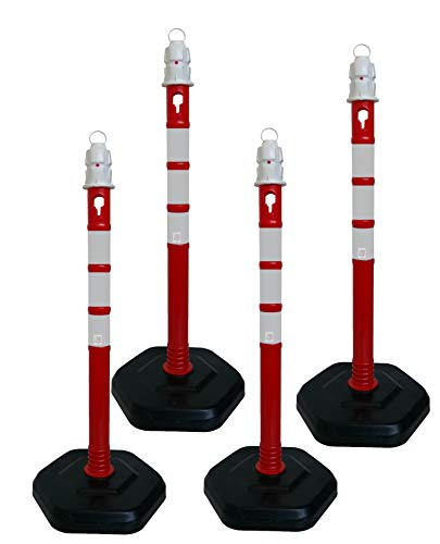 UvV® Quad (4Stück) 2. Wahl Kettenpfosten Kettenständer Absperrpfosten, Ø63 x 1000mm, 3 kg, Fußplatte zum Einrasten in schwarz mit Gewichtsverstärkung und 4 reflektierenden Folienstreifen