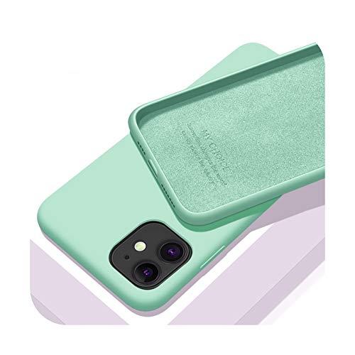 Funda de lujo de silicona líquida original para iPhone 11 12 Pro Max mini 7 8 6 6S Plus XR X XS MAX 5 5S SE a prueba de golpes cubierta verde para iPhone 6 (6S)