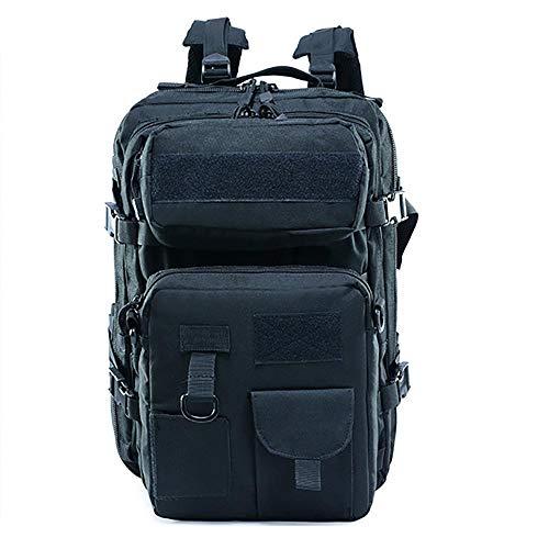 Tactical Assault Backpack, Large 45L MOLLE Military Rucksack School Backpack for Outdoor Travel Hiking Trekking, Black GWBI-black