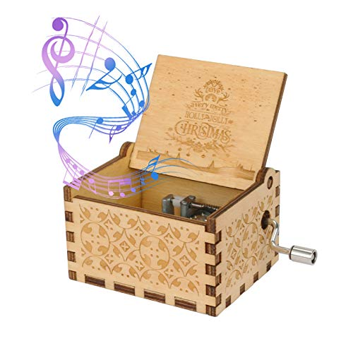 Color You Music Box Hand Cranked Christmas Music Box Engraved Vintage Wooden Music Box Portable MusicBoxes for Boys, Girls, Men and Women Ideal Gift for Christmas and New Year