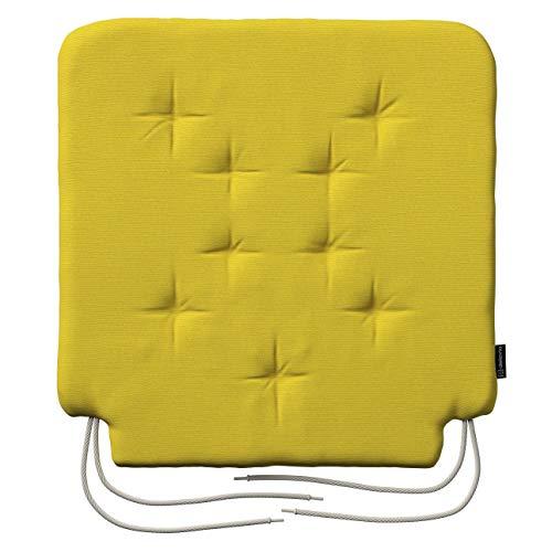 Dekoria Stuhlkissen Christoph mit Bindeschnur Kissen 42 × 41 × 3,5 cm gelb