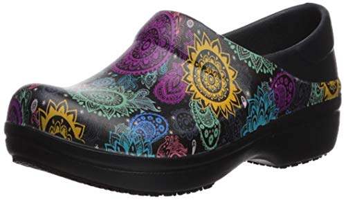 Crocs womens Women's Neria Pro Ii | Slip-resistant Work and Nursing Shoe Clog, Black/Multi Floral, 9 US