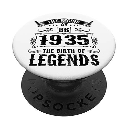 Life Begins At 86 1935 Birth Of Legends 86th Birthday Gifts PopSockets PopGrip: Agarre intercambiable para Teléfonos y Tabletas