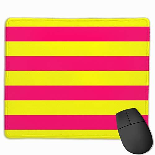 Gaming-Mauspad, helles Neon-Pink und Gelb, horizontales Cabana-Zelt, Streifen, Mauspad, rechteckig, rutschfestes Gummi-Mauspad, Bürozubehör, Schreibtisch-Dekoration, Mauspads für Computer Laptop