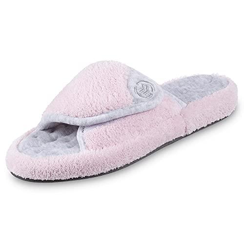 isotoner Women's Terry Spa Slip On Slide Slipper with Memory Foam for Indoor/Outdoor Comfort, Petal Pink, 6.5/7