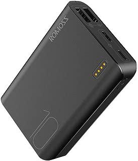 モバイルバッテリー 小型 10000mAh 大容量ROMOSS 軽量 携帯充電器 PSE認証済み スマホバッテリー LED残量表示 iPhone iPad Android対応 sense4 mini 黒