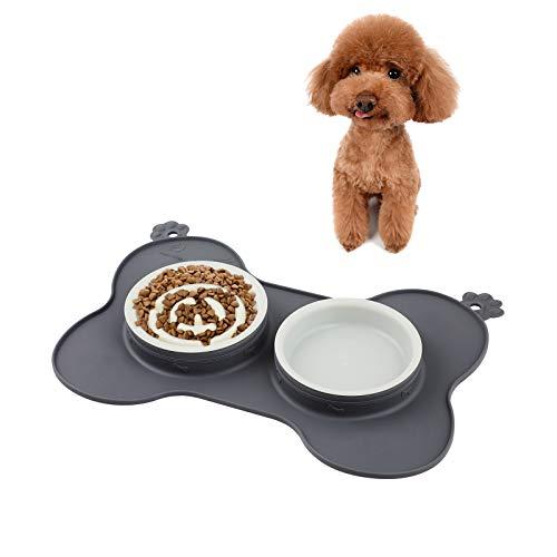 WD&CD Ciotola Mangiare Lento per Cani e Gatti, [2X200ml] Ciotola Doppia per Cani con Tappetino in Silicone Antigoccia Pieghevole, Favorisce Un'alimentazione Sana e Una Digestione Lenta - Grigio