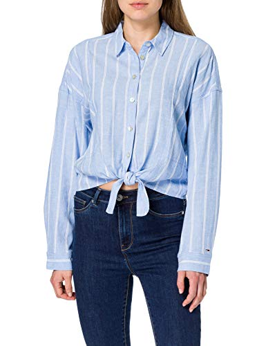 Tommy Jeans TJW Relaxed Front Knot Shirt Camisa, Azul moderado/Rayas, M para Mujer