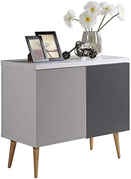 Pemberly Row Entry Way Accent Table In White Gray