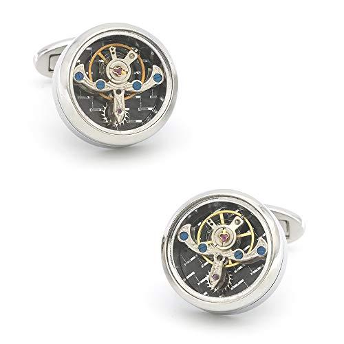 Rongxin Argento retro stella nucleo macchina nucleo meccanico orologio gemello uomo polsino (Colore: 3)