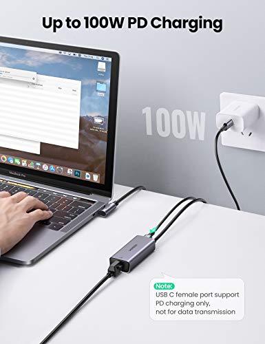 UGREEN USB C auf Ethernet Adapter 1000Mbps RJ45 mit PD Ladeschnittstelle 100W LAN Netzwerkadapter