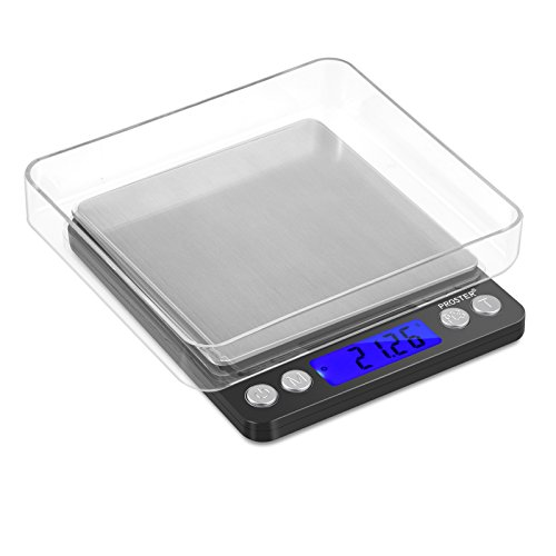 Proster Digital Kitchen Scale 0.01 to 500g Pocket Scale with Backlit LCD 2 Trays Support Tare Weighing and Counting Function...