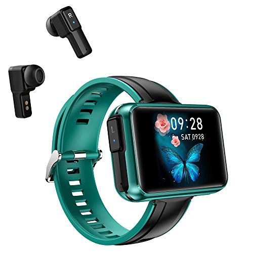 T91 Smart Bracelet 2 in 1 Smart Watch TWS Wireless Bluetooth Headset 1.4 Inch IPS Screen Heart Rate Blood Pressure Fitness Tracker Earbuds Combo Running Music Wristband (Blue Green Silicone)