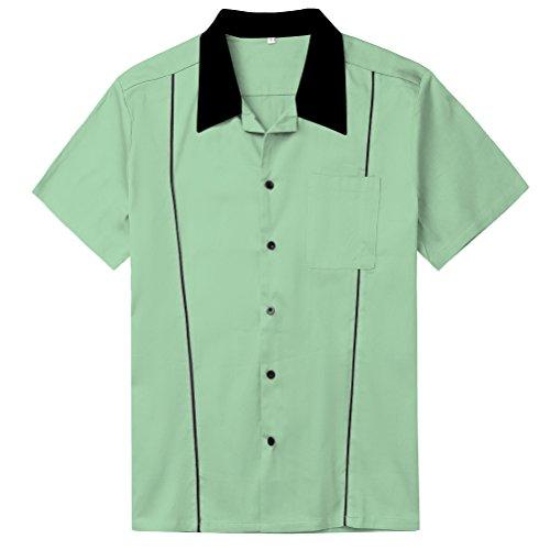 Wanlian Mens Shirts Rockabilly Retro Bowling Shirts Mint Green Plus Size Clothing (XX-Large)