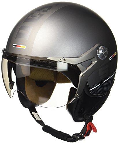 SOXON SP-325-PLUS Titanium Ace · Bobber Retro Piloto Vintage Casco Demi-Jet Chopper Moto motocicleta Scooter Urbano Vespa Cruiser Mofa Biker Helmet Urban · ECE certificado · incluyendo parasol · incluyendo bolsa de casco · Gris · M (57-58cm)