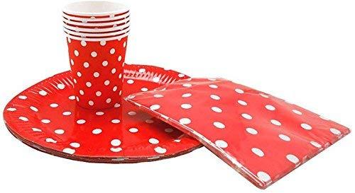 Sini Juego 10 Servilletas 6 Vasos y 6 Platos Lunares Blancos Fondo Rojo