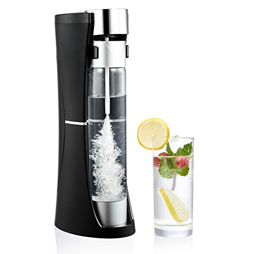 CO-Z Desktop Sparkling Water Maker Black, 1 Liter Homemade Soda Pop Maker Machine, 1.75 Pint Seltzer Water Fizzy Drink and Soda Machine for Home, Carbonated Soda Maker, 60L CO2 Cylinders Not Included