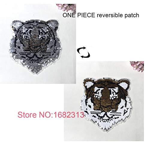 PiniceCore Tigre Reversible Cambio de Color de Las Lentejuelas Cosa en Parches para la Ropa Parche Bricolaje Apliques Bolsa de Ropa de la Capa del suéter Crafts